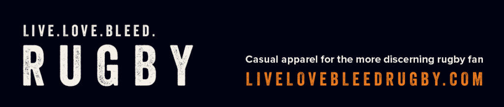 Live, Love, Bleed Rugby logo and link to shop